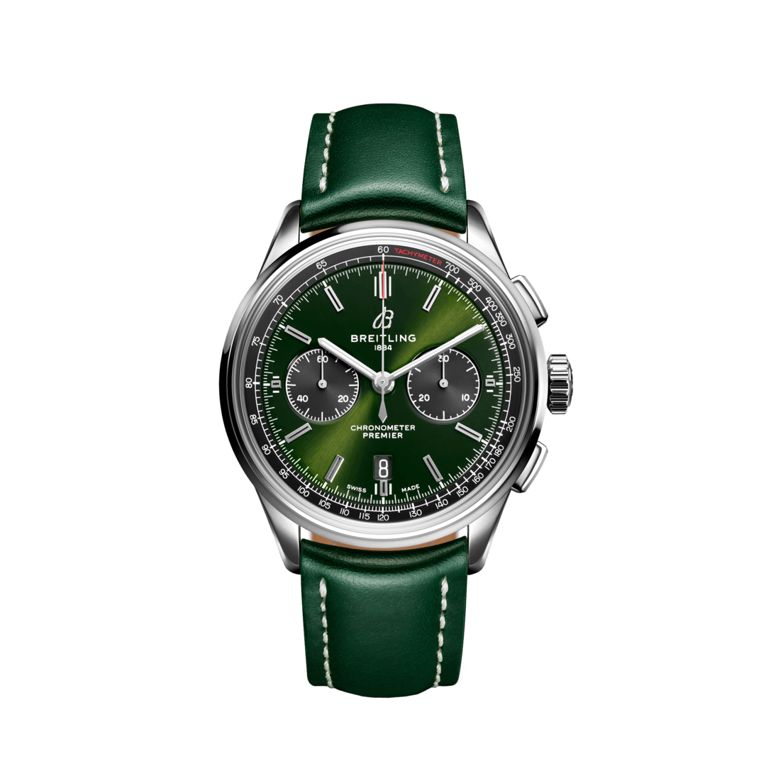 Breitling-Premier-B01-Chronograph-42-Bentley-British-Racing-Green-Hall-of-Time-AB0118A11L1X1