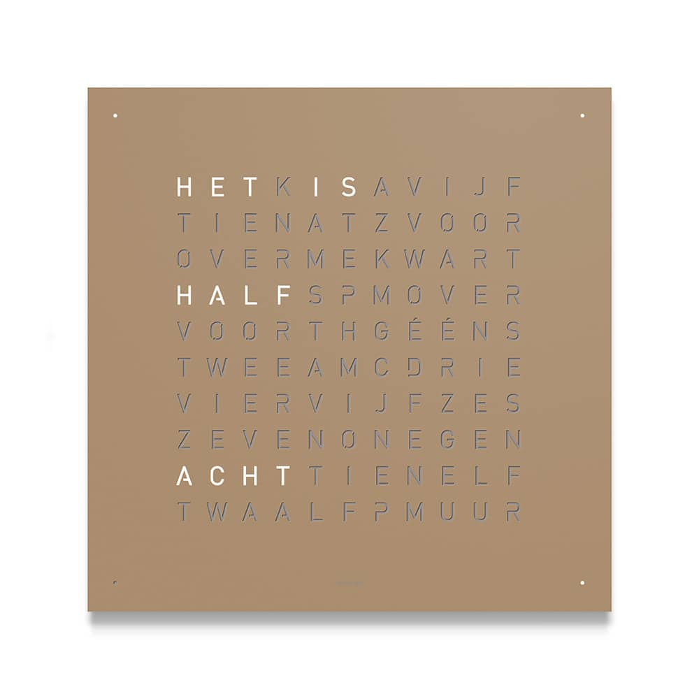 Montre-Horloge-Qlocktwo-Classic-Hazelnut-Hall-of-Time-Bruxelles