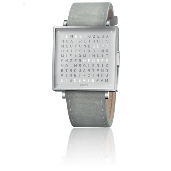 montre-qlocktwo-w35-fine-steel-leather-suede-light-grey-biegert-funk-Hall-of-Time-Bruxelles-