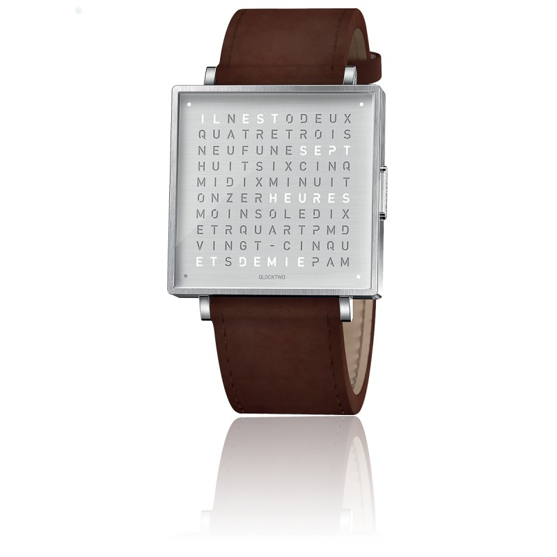 montre-qlocktwo-w35-fine-steel-leather-vintage-brown-biegert-funk-Hall-of-Time-Bruxelles-