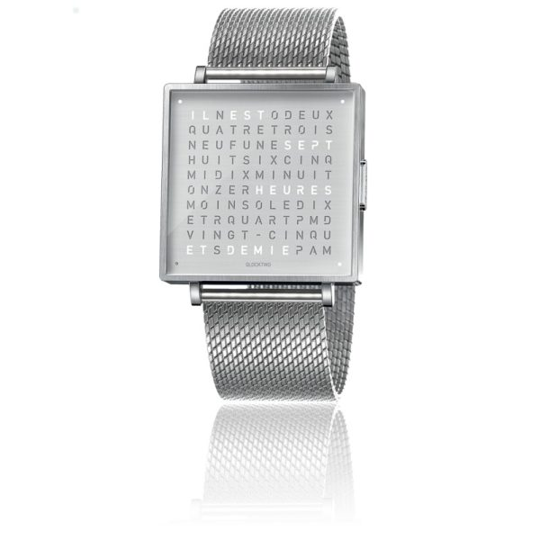 montre-qlocktwo-w35-fine-steel-milanaise-biegert-funk-Hall-of-Time-Bruxelles-