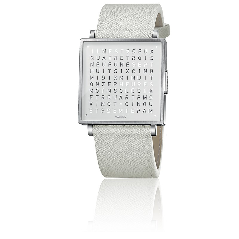 montre-qlocktwo-w35-pure-white-french-grain-leather-strap-biegert-funk-Hall-of-Time-Bruxelles-