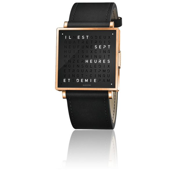 montre-qlocktwo-w35-rose-black-leather-black-biegert-funk-Hall-of-Time-Bruxelles-