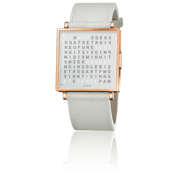 montre-qlocktwo-w35-rose-white-french-grain-leather-strap-biegert-funk-Hall-of-Time-Bruxelles-